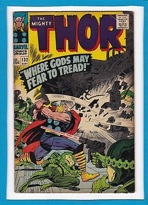 MIGHTY THOR #132_SEPT 1966_FINE_1st APP EGO THE LIVING PLANET_SILVER AGE UK!