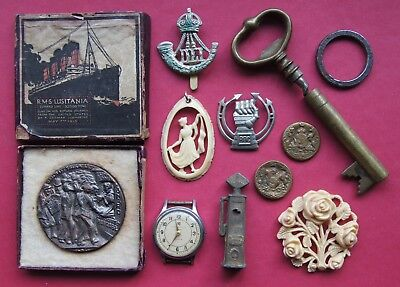 Job Lot Vintage Collectables - Lusitania Medal Watch Buttons etc - spares repair