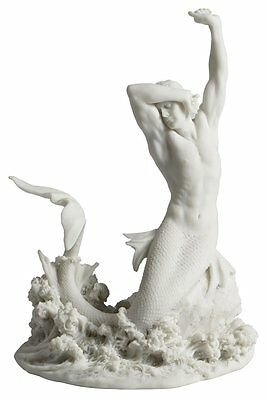Rare White Merman Stretching on Rock Statue Sculpture Figurine - GREAT GIFT!
