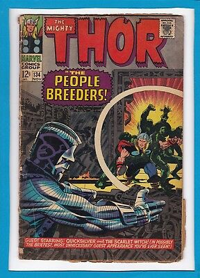 """Mighty Thor #134_November 1966_Good+_""""the People Breeders""""_Silver Age Marvel!"""