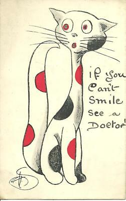 """COMIC CAT """"IF YOU CANT SMILE SEE A DOCTOR"""" (COLOUR POSTCARD) c1910"""