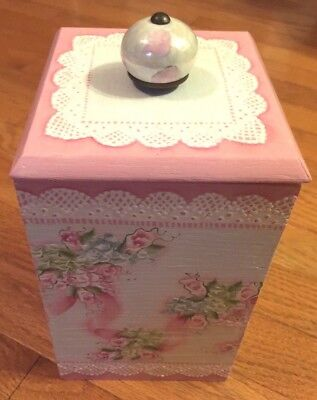 Vintage Box Hand Painted Wood Cottage Chic Pink Roses Shabby Lace HP Victorian
