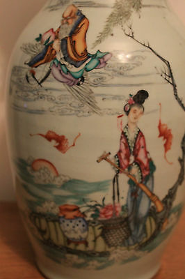 Vase chinois ancien Famille rose Qianlong A identifier Chine