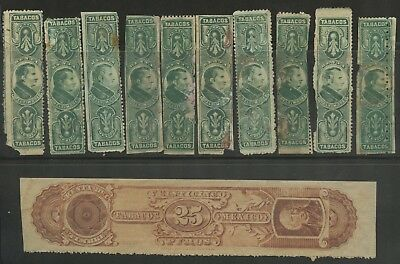 Mexico Revenues~Collection of Tobacco Revenue Stamps