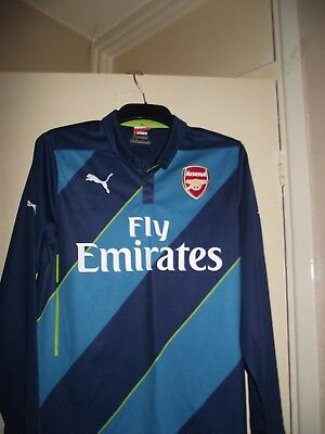 arsenal fly emirates long sleeved away football shirt size small good cond