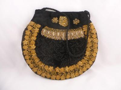 Antique 19th Century Velvet & Gold Wirework & Glass Bead Bag Purse Handbag