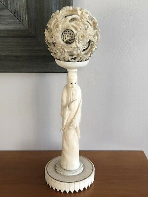 Antique Finely Carved Chinese Puzzle Ball On Stand