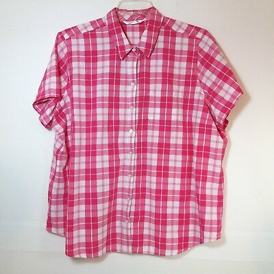 dd38f5816ae Riders By Lee Womens Size 2X Shirt Blouse Button Front Short Sleeve Plaid