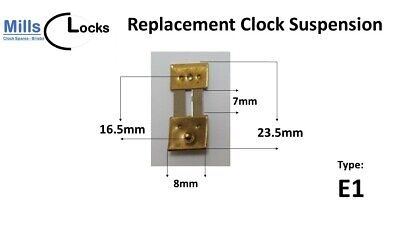1 x Brass Clock Pendulum Suspension Spring, Repair, (23.5 x 7 x 8mm) (Type E1)