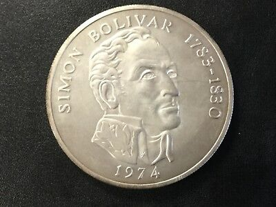 1974 Panama 20 Balboas Silver Uncirculated Large Coin!