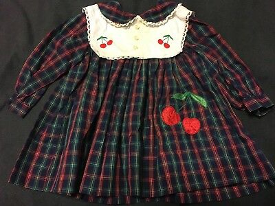 Long Sleeve Blue Green Red Plaid White Collar Cherry Baby Doll Dress 2T