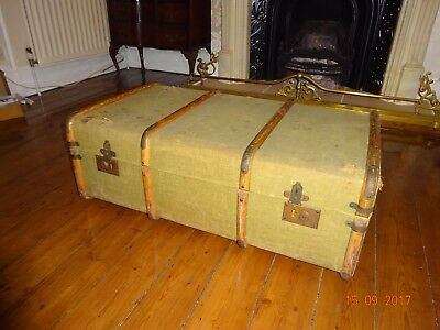 Large Antique Canvas Wood Banded Vintage Travel Steamer Trunk Case Luggage/Table
