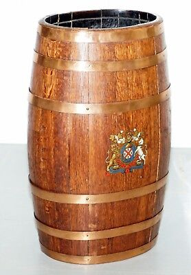 19Th Century Naval Oak & Copper Bound Barrel Royal Armorial Crest Rare Find