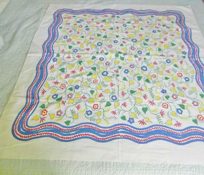 Vintage Heavy Cotton Tablecloth 46 X 52 Flowered Design Blue, Red & Yellow