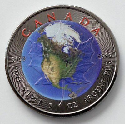 2017 1oz .999 Canadian Maple Leaf Earth Colorized & Black Ruthenium Silver Coin