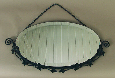 Vintage Art Deco Era French Wrought Iron Oval Mirror with Bevel, Near-Mint