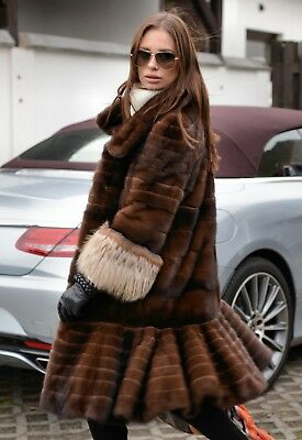 New 2019 Royal Mink Fur Coat Fox Class Sable Chinchilla Vest Long Jacket Trench