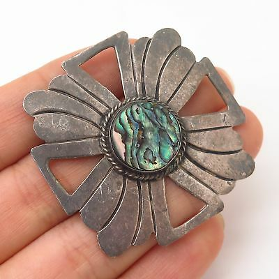 925 Sterling Silver Vintage Mexico Abalone Shell Pin Brooch