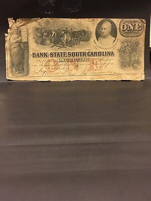 1862 One Dollars confederate currency, State Of South Carolina