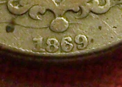 1869/19 Shield 5c, Repunched Date! F-403, Fine+ Details, Corrosion/stains.