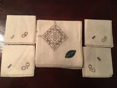 "New Vtg  Made In Italy Hand Embroidered Linen Tablecloth And Napkins 33"" X 33"""