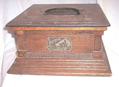 Victor M Phonograph Cabinet Case With Id Tag