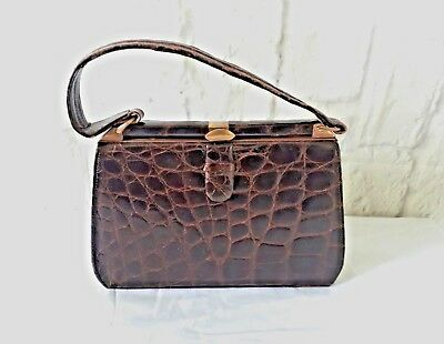 Vintage Handbag Brown Snake Skin Pattern Close Clasp Short Handle England