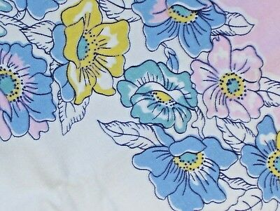 "Vintage Wilendur Multi Flowered Tablecloth  On White Background  54"" × 47"""