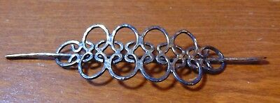 Unique Vintage Sterling Silver Hair Pin Barrette Marked 'Sterling' OJ020