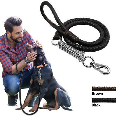 Braided Heavy Duty Leather Dog Leash Pet Leads with Spring for Large Breed Dogs