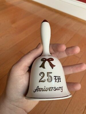 Vintage Lefton Japan 25th SILVER ANNIVERSARY Porcelain Bell Limited Handpainted