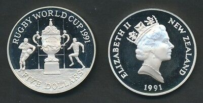 New Zealand: 1991 $5 Rugby World Cup 0.84oz Silver Proof Coin