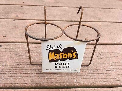Vintage Drink Mason's Root Beer 2 Bottle Wire Grocery Shopping Cart Ad Holder