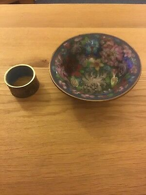 Enamelled Bowl And Napkin Ring - Cloisonne