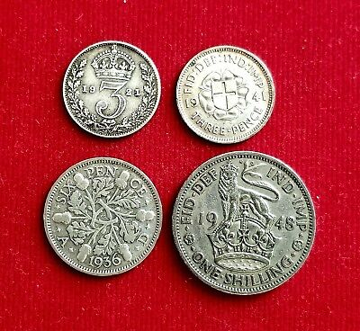 5 Silver Coins From Great Britain (1921-1948) 3 Pence (2), 6 Pence, Shilling