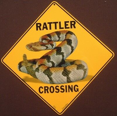 RATTLER SNAKE CROSSING Sign 16 1/2 by 16 1/2 NEW decor novelty picture signs art