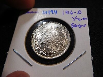 G194 Germany Empire 1916-A 1/2 Mark Superb GEM BU