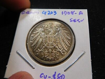 G203 Germany Empire 1908-A Mark Superb GEM BU Catalog Value=$80