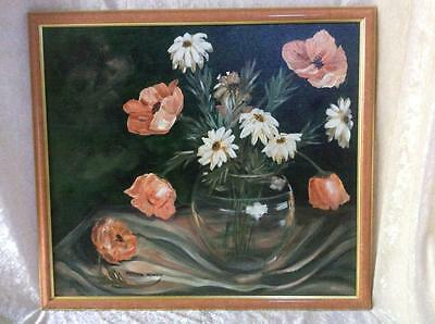 Original Painting of  Vase with Peach Colored Poppies &  Daisies, Signed, 1986