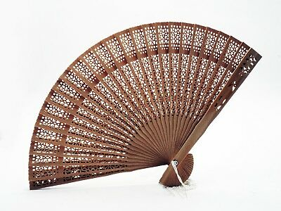 ** Flower Hand Hollow Carved Wooden Bamboo Chinese Folding Fan **