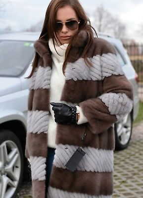 New 2019 Sapphire Mink Fur Coat Class Of Sable Chinchilla Trench Jacket Fox Gray