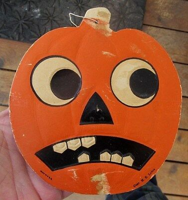 Vintage H.e. Luhrs Halloween Pumpkin Jack-O-Lantern Die Cut Decoration