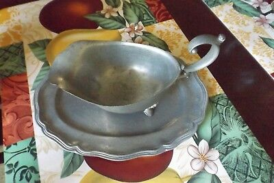 Antique Pewter Gravy Boat With Under Dish By Stede 3 Footed