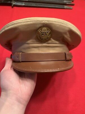 WWII US Army Officers Khaki Hat Cap