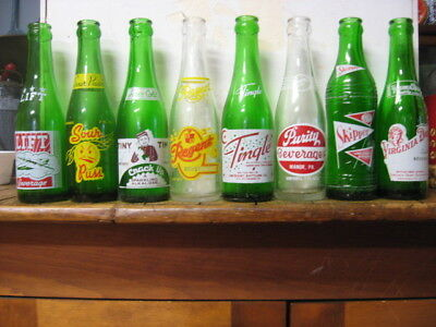 Eight Seven Ounce Applied Color Label Soda Bottles - Kitchen Decor- vintage