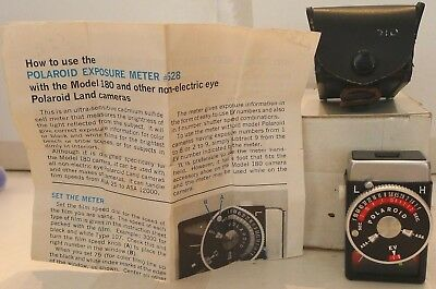 Polaroid #628 Light Meter +Leather Case & Manual 180 185 190 195 Instant Camera