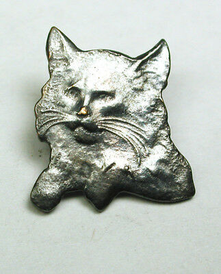 BB Vintage Metal Button w Cat Head Realistic Design - 5/8""