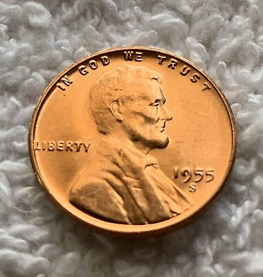 1955-S Lincoln Wheat Cent Unc From Obw Roll From Old Collection Wow Look