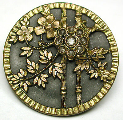 """BB Antique Brass Button Detailed Flowers Image w/ Glass Accent - 1 & 316"""""""