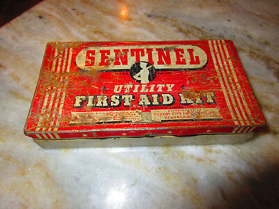 Vintage Sentinel Utility First Aid Kit Tin - in fair condition